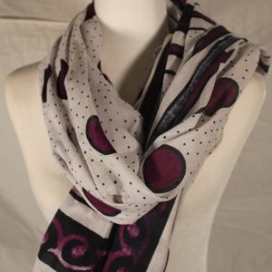 Accessories - White scarf, black & purple, African motif, 40x64